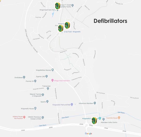 Map of locations for defibrillators